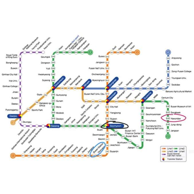 Busan Subway Map 2017.Busan Day 1 Milmyeon Taejongdae Eel Bbq Gwanganlli